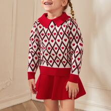 Toddler Girls Heart And Geo Print Sweater With Knit Skirt