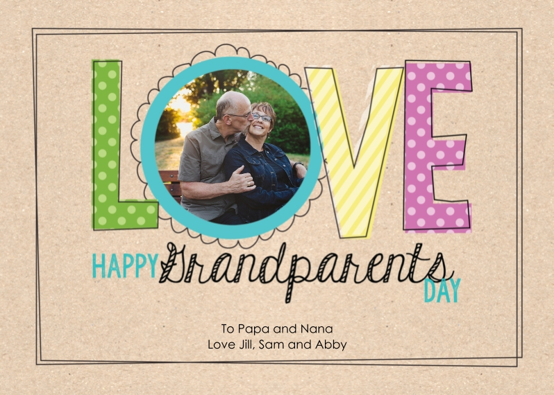 Grandparent's Day 5x7 Cards, Standard Cardstock 85lb, Card & Stationery -Lovely Frame