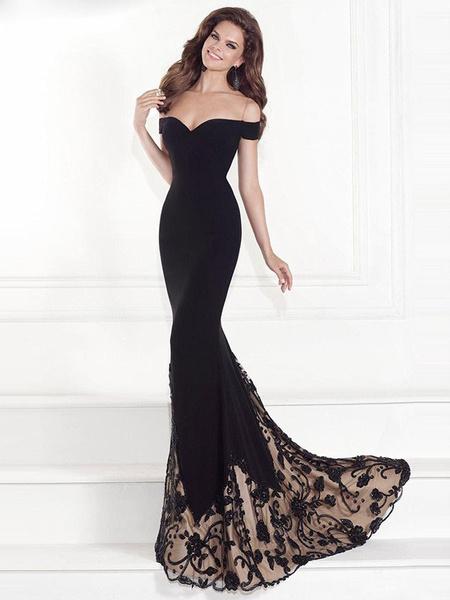 Milanoo Black Maxi Dress Lace Off The Shoulder Short Sleeve Long Dress Slim Fit Prom Dress