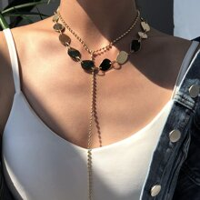 1pc Disc Decor Layered Y-lariat Necklace