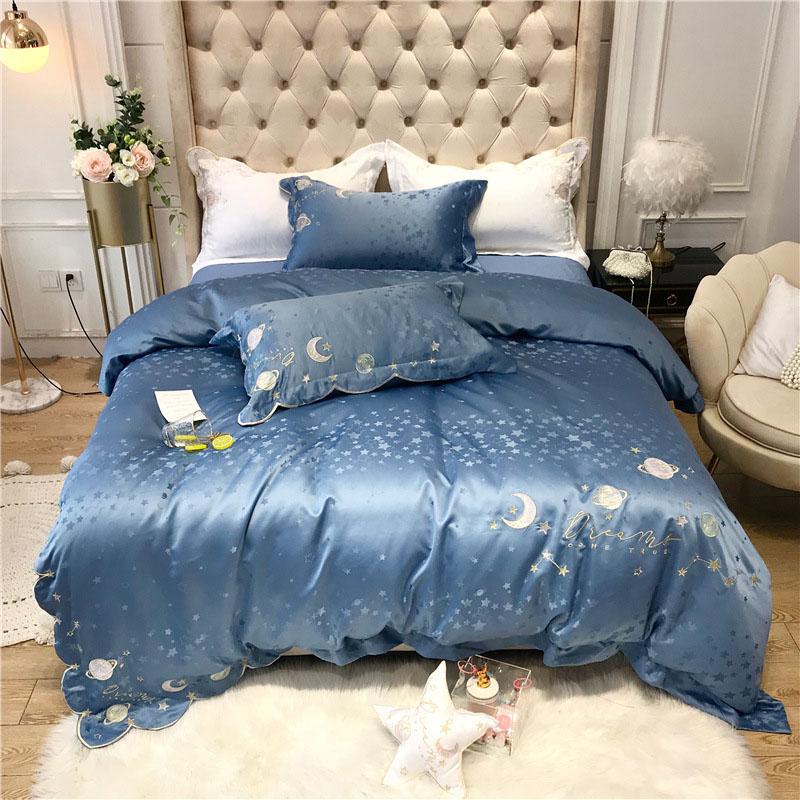 Sky Blue Embroidery Cotton Silky Bedding Sets 4-piece Skin-friendly Zipper Duvet Cover Set