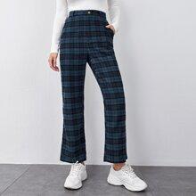 Hose mit geradem Beinschnitt und Karo Muster