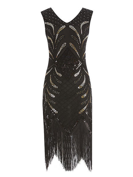 Milanoo Flapper Dress 1920s Fashion Style Great Gatsby Costume Vintage Sequined Tassels Dress 20s Party Dress Halloween For Women