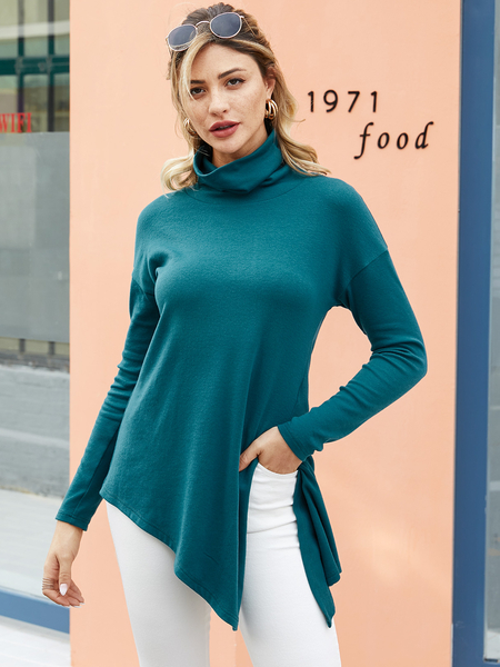 YOINS Green Slit Design High Neck Long Sleeves Knit Tee
