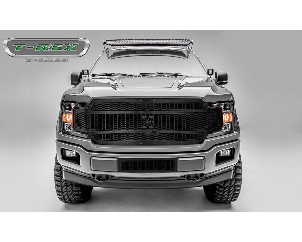18-20 F-150 Stealth Laser X Grille, Black, 1 Pc, Replacement, Black Studs, Fits Vehicles with Camera - PN #7715891-BR