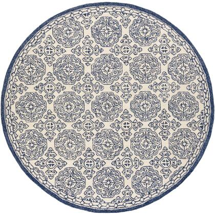 Granada GND-2303 6' Round Traditional Rug in Dark Blue  Denim