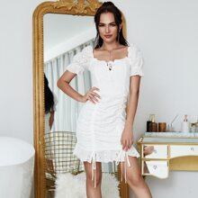 Yilibasha Lace Up Knot Ruched Drawstring Eyelet Embroidery Dress
