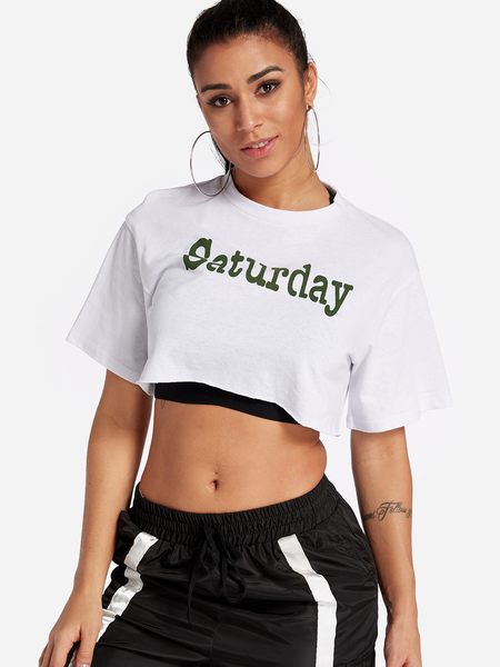 Yoins White Letter Printed Crew Neck Short Sleeves Gym Tops