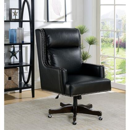 BM187182 Leatherette Office Chair with Slit Back Cushions and Nail head Trim