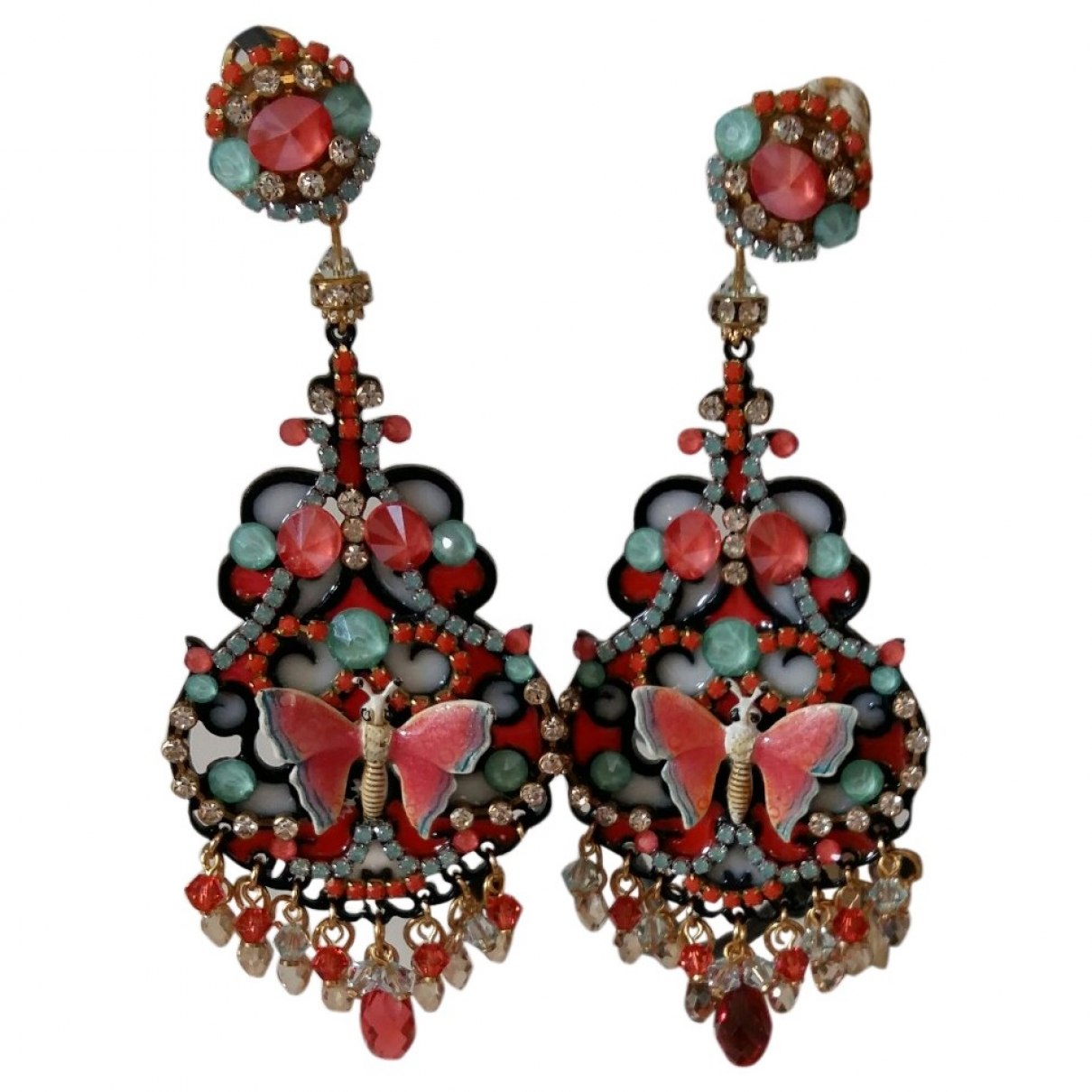 Non Signé / Unsigned Motifs Animaliers Pink Crystal Earrings for Women \N