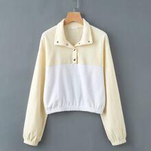 Half-Placket Colorblock Sweatshirt