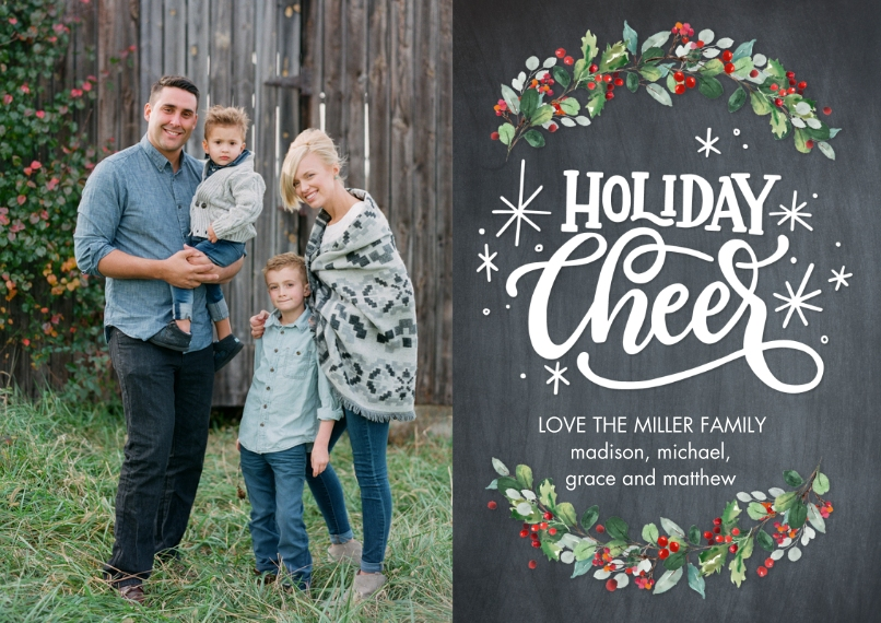 Holiday Photo Cards Flat Matte Photo Paper Cards with Envelopes, 5x7, Card & Stationery -Holiday Cheer Garland by Tumbalina
