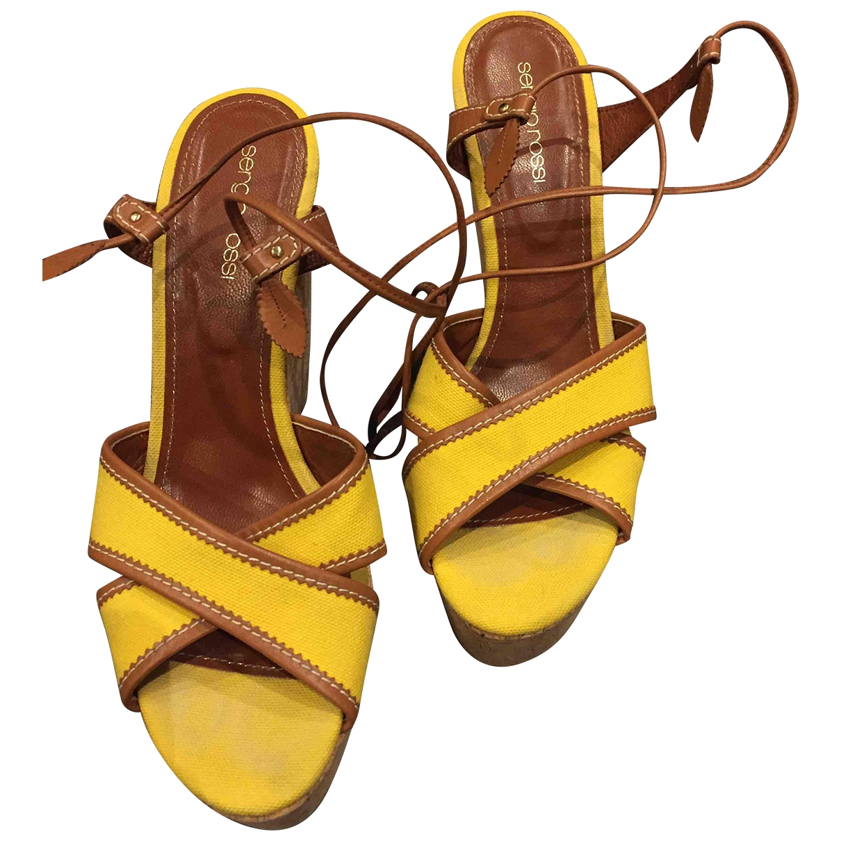 Sergio Rossi \N Yellow Cloth Sandals for Women 39 EU