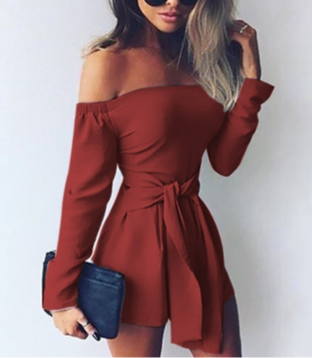 Yoins Lace-up Design Off The Shoulder Long Sleeves Playsuit