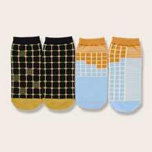 2pairs Colorblock Plaid Socks