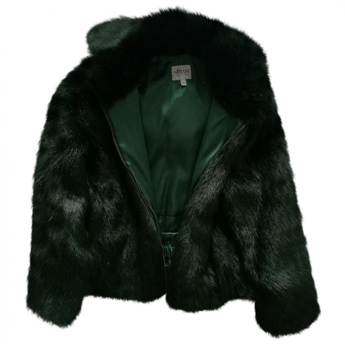 Armani Collezioni \N Green Faux fur Leather jacket for Women 38 IT