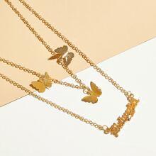 Mehrschichtige Halskette mit Buchstaben & Schmetterling Anhaenger 1 Stueck