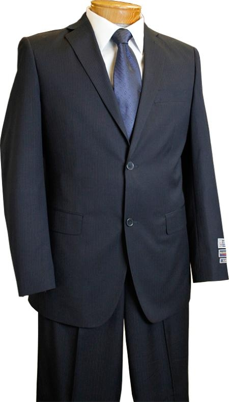 Mens Single Breasted 2Button Pinstripe Suit in Navy Blue