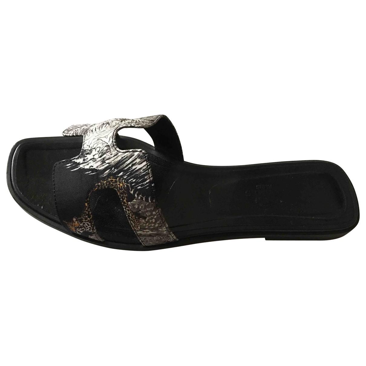 Hermes - Sandales Oran pour femme en toile - noir