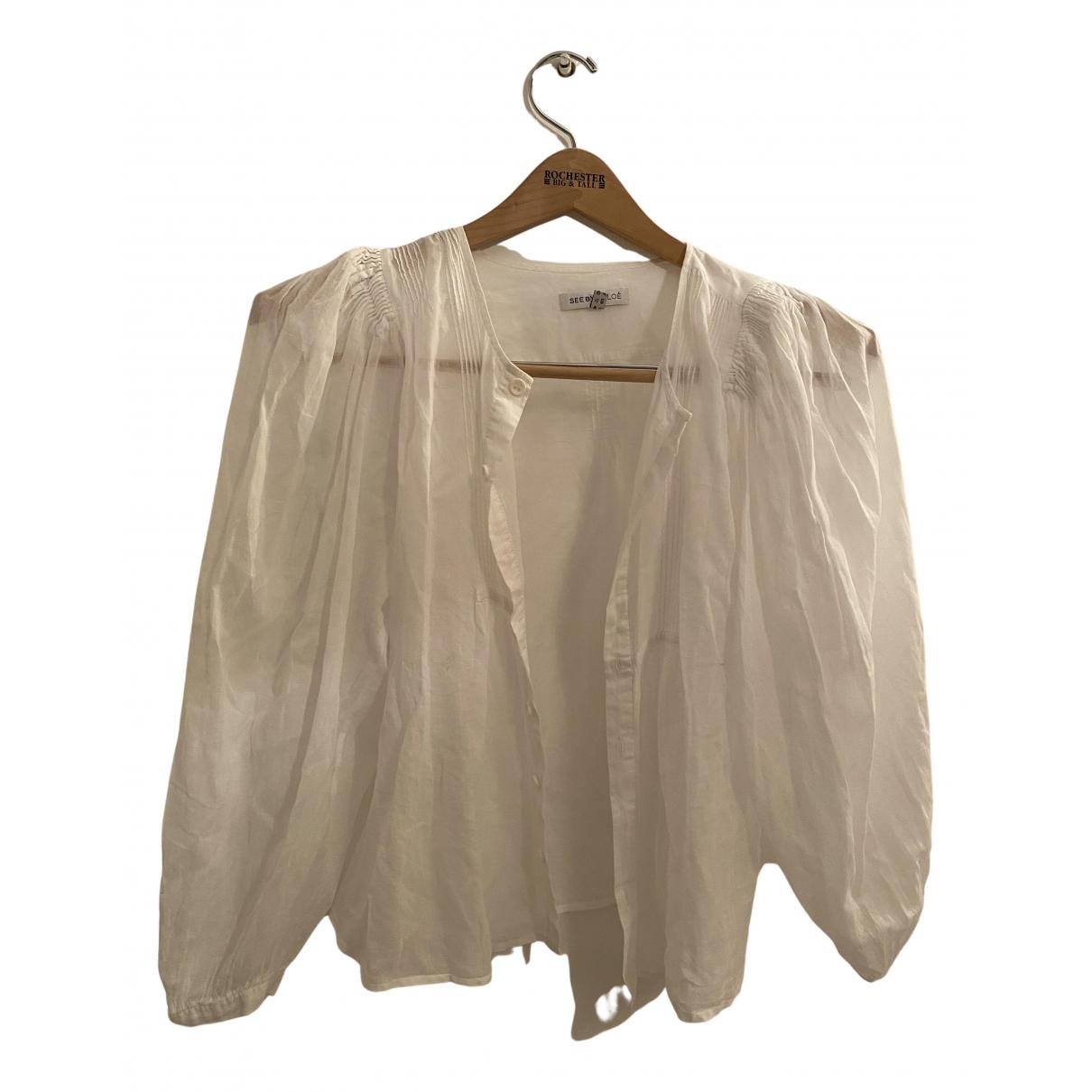 See By Chloe - Top   pour femme en coton - blanc