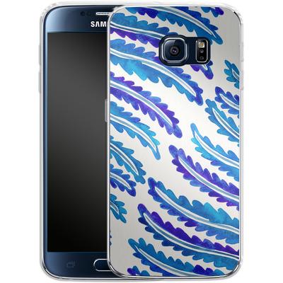 Samsung Galaxy S6 Silikon Handyhuelle - Fern Leaf Navy von Cat Coquillette