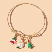 Christmas Tree & Snowman Bangle Bracelet