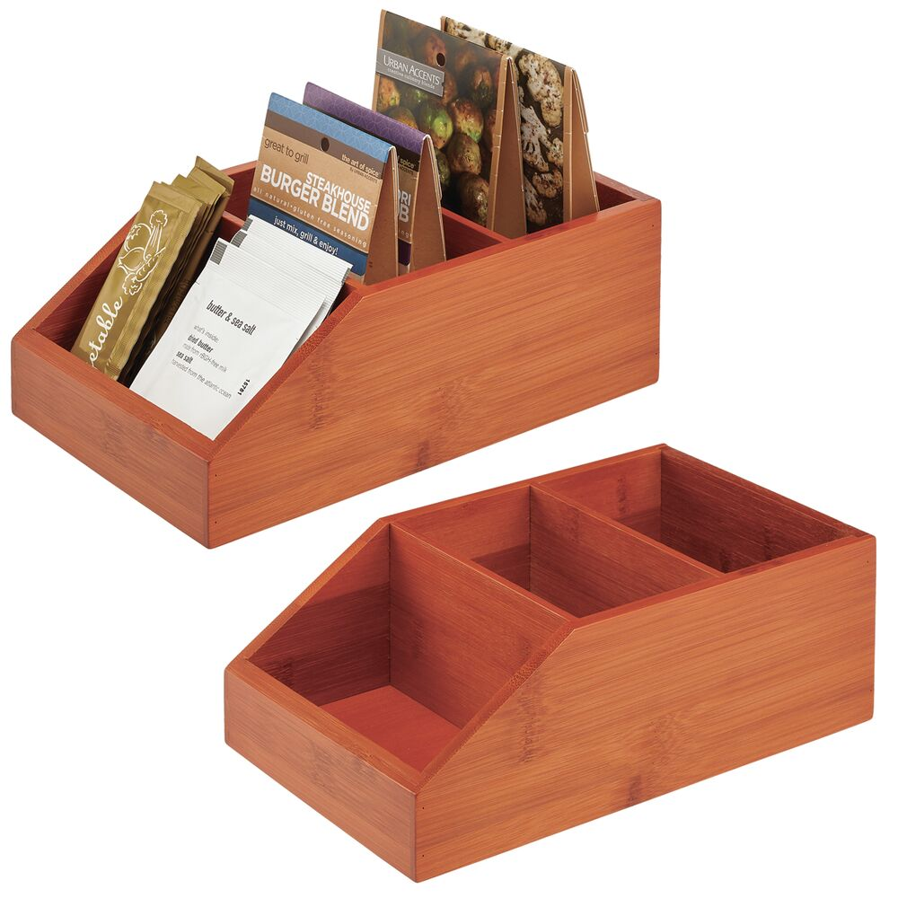 Bamboo Front Dip Divided Food Storage Bin - Pack of in Cherry, 10