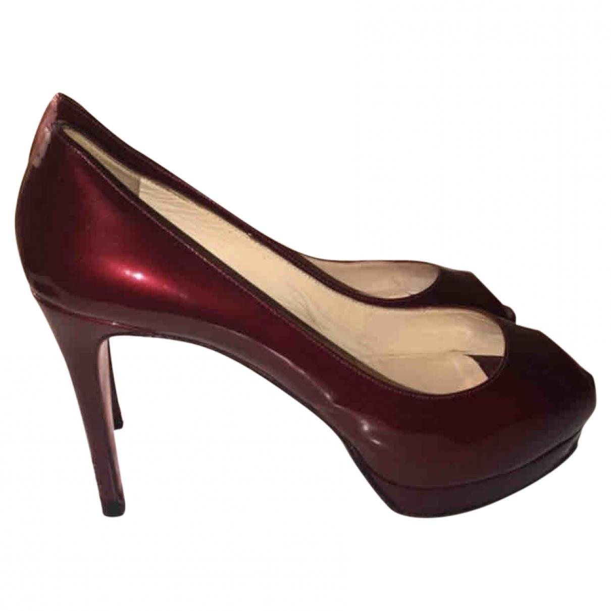 Christian Louboutin \N Burgundy Patent leather Heels for Women 39 EU