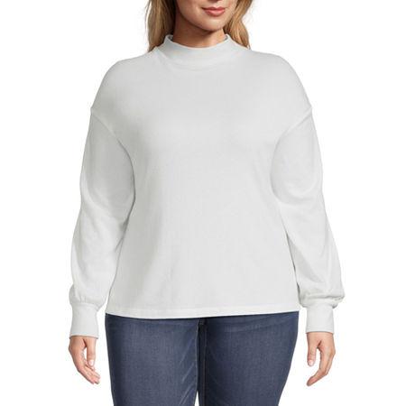 a.n.a Plus-Womens Mock Neck Long Sleeve T-Shirt, 1x , White