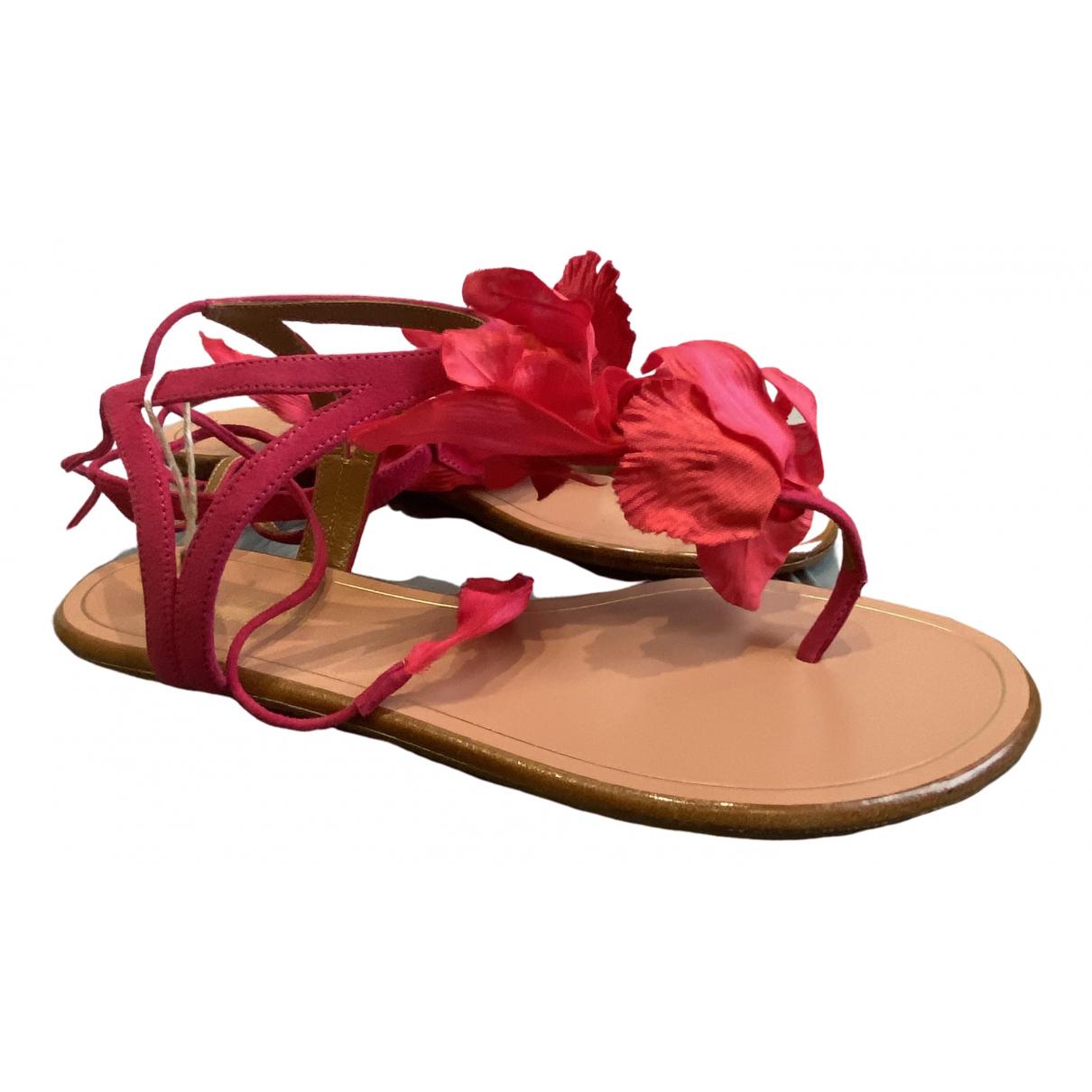 Aquazzura - Sandales   pour femme en suede - rose