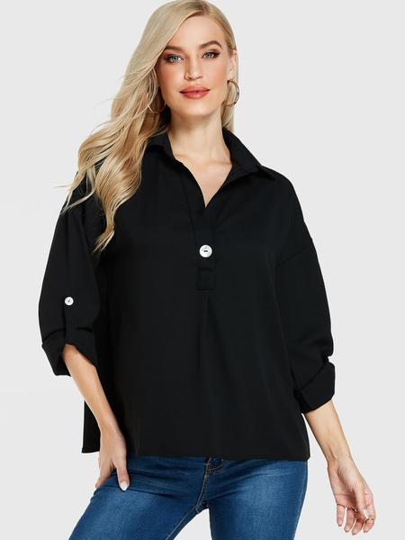 Yoins Black Button Design Long Sleeves Blouse
