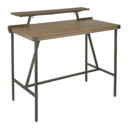 CT-GIA ANBN Gia Industrial Counter Table in Antique Metal and Brown Wood-Pressed Grain
