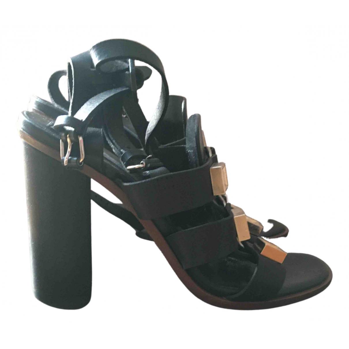 Proenza Schouler N Black Leather Sandals for Women 37 EU
