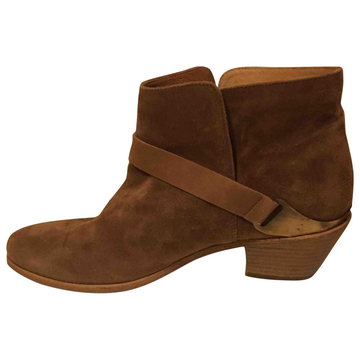 Comptoir Des Cotonniers \N Beige Leather Ankle boots for Women 39 EU