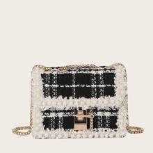 Faux Pearl Decor Plaid Crossbody Bag