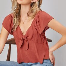 Butterfly Sleeve Knot Front Babydoll Top