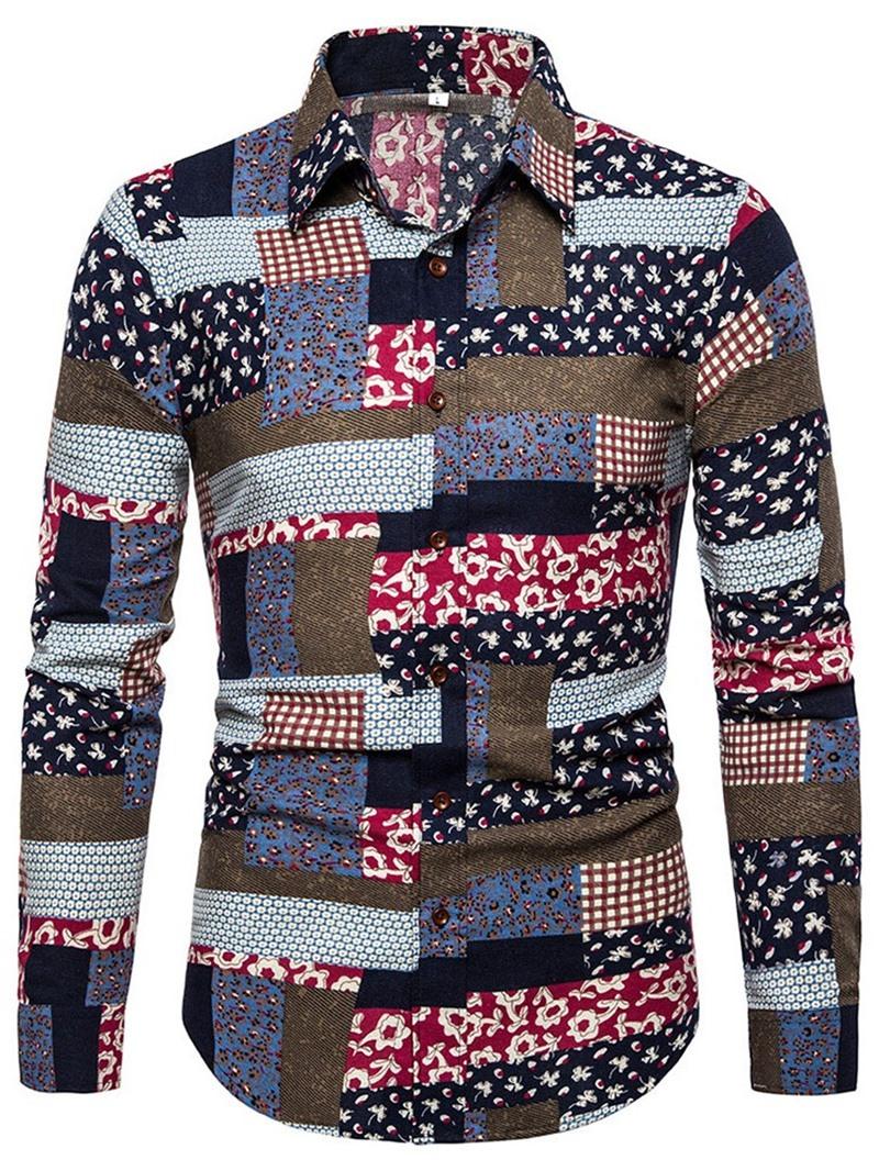 Ericdress Print Color Block Lapel Slim Mens Shirt
