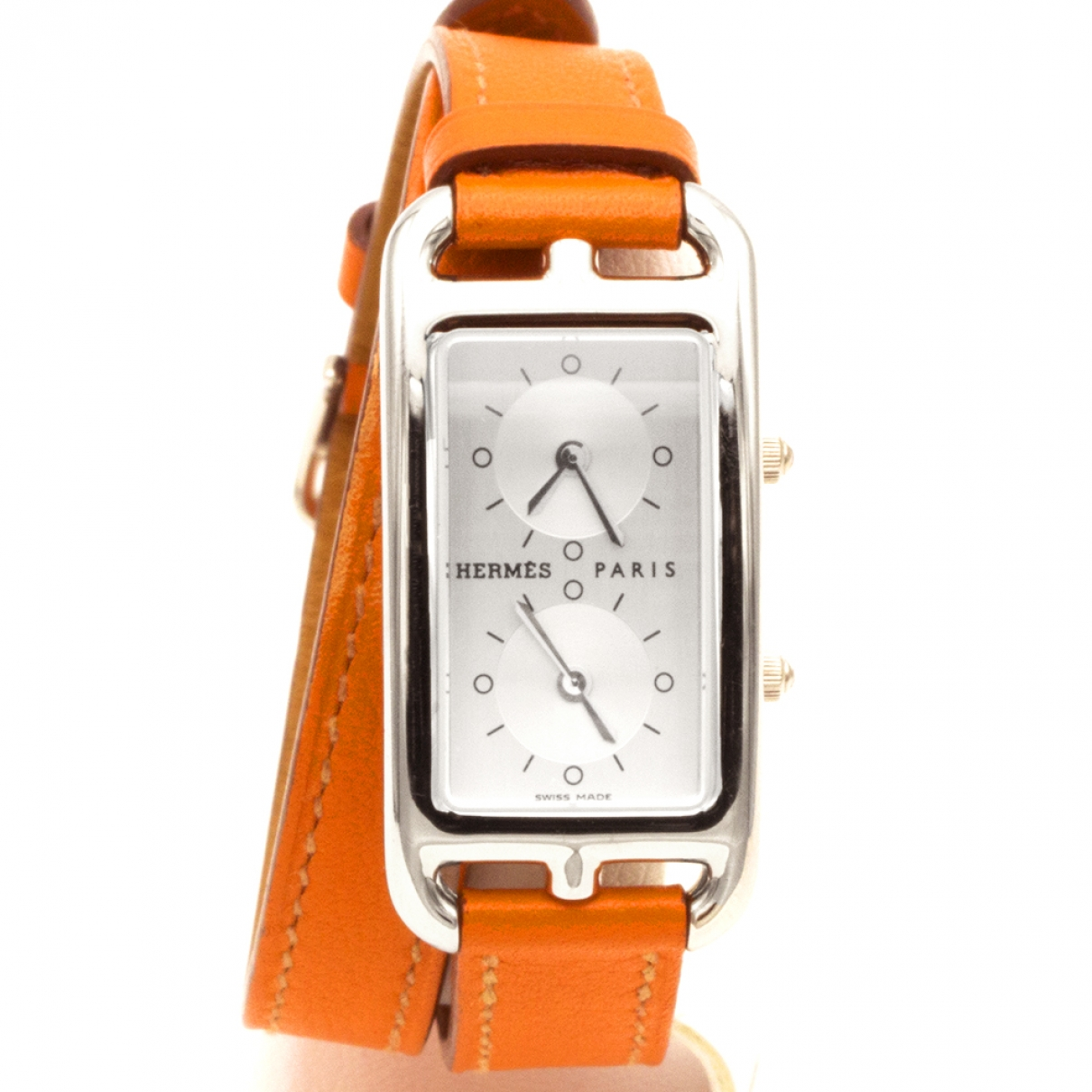 Hermès Cape Cod Dual Time Orange Steel watch for Women \N