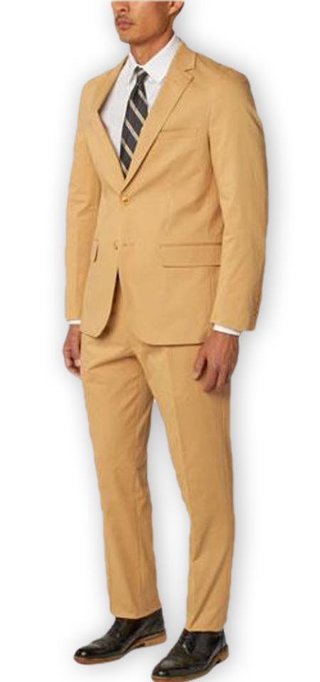 Men's  Notch Lapel 100% Cotton Double Vent Two Piece Khaki Suit