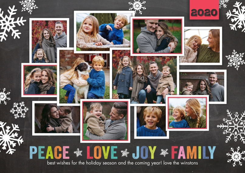 Christmas Photo Cards 5x7 Cards, Premium Cardstock 120lb with Elegant Corners, Card & Stationery -2020 Christmas Peace Love Joy Family by Tumbalina