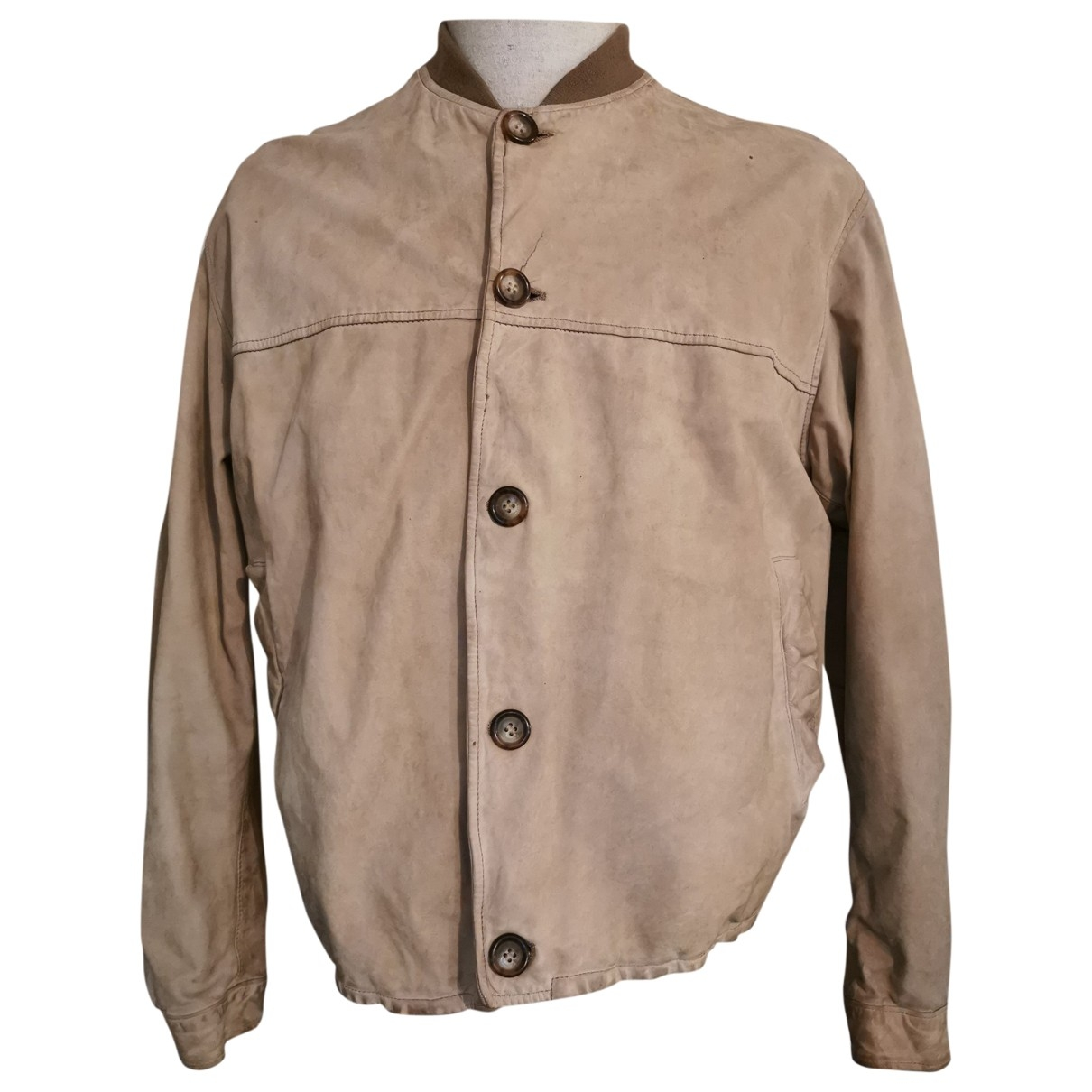 Emporio Armani \N Beige Leather jacket  for Men 48 IT