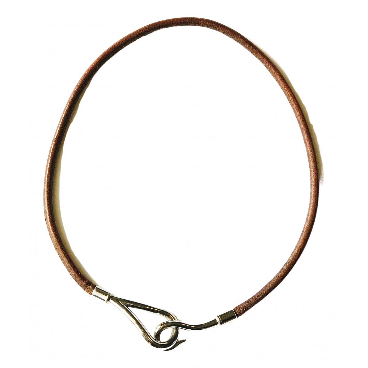 Hermes - Collier Jumbo pour femme en cuir - marron