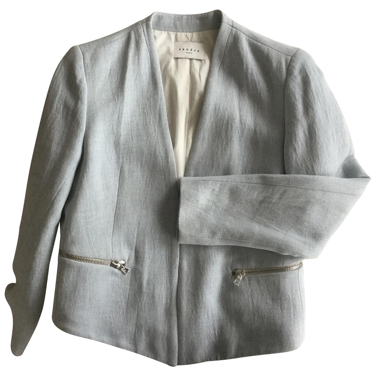 Sandro - Veste   pour femme en lin - bleu