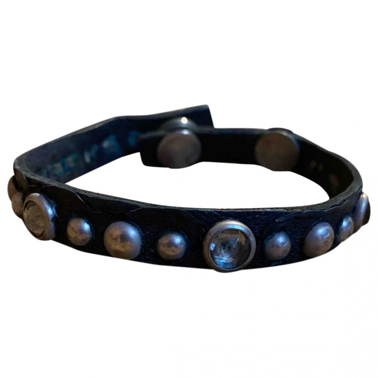 Htc - Bracelet   pour femme en cuir - noir