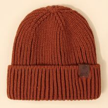 Men Patched Knit Beanie