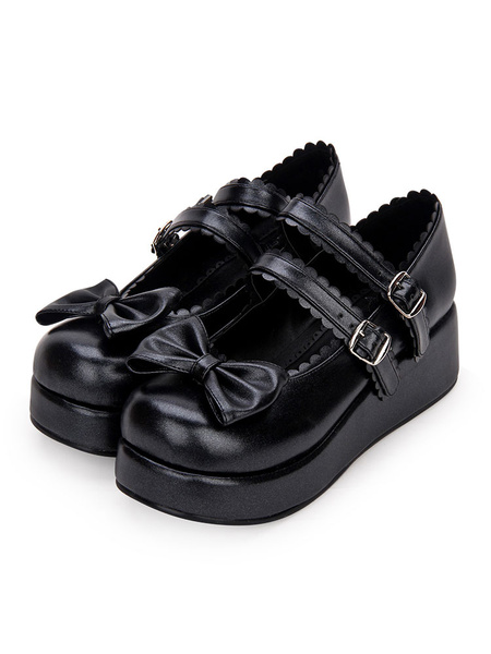 Milanoo Sweet Lolita Footwear Bow Frill Strappy Buckle Platform PU Lolita Shoes