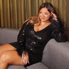 Plus Faux Fur Cuff Sequins Bodycon Dress