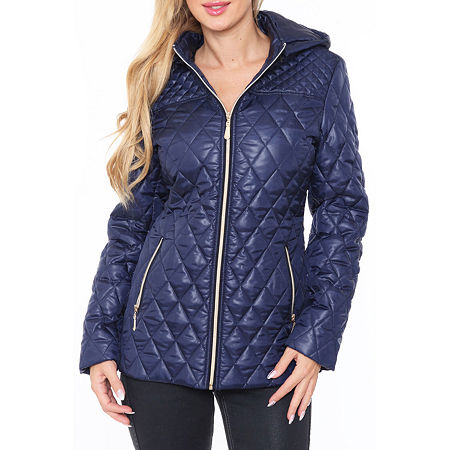 White Mark Hooded Midweight Puffer Jacket, Small , Blue