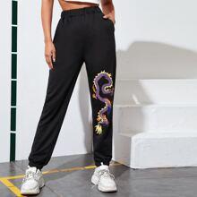 Dragon Graphic Slant Pocket Sweatpants