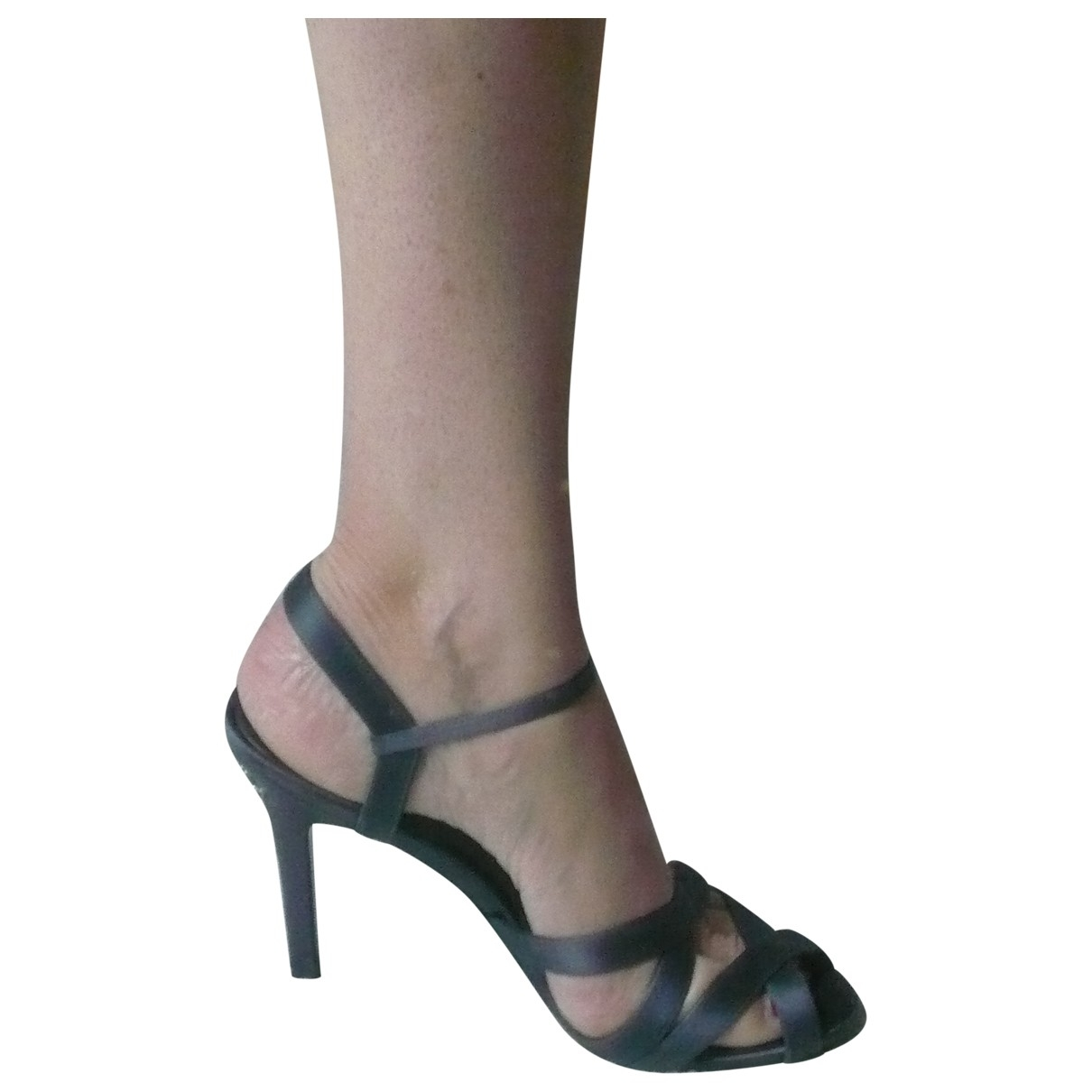 Chanel \N Anthracite Cloth Sandals for Women 40.5 IT